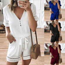 Kuelawear Sexy Shorts Jumpsuits Summer Women's Playsuit Casual V Neck Loose Drawstring Waist Jumpsuit Sleeve Ladies Tops