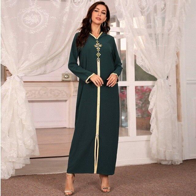 Hooded Kaftan Dress for Women Fashion Ethnic Hand Stitch Diamond Ribbon Trim Moroccan Dubai Turkey Arabic Clothes Eid 1
