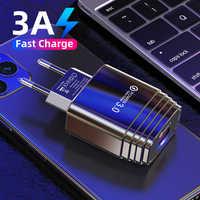 USLION-cargador USB 3,0 para iPhone 11 Pro, Samsung, Huawei P20, tableta QC 3,0, adaptador de enchufe americano y europeo