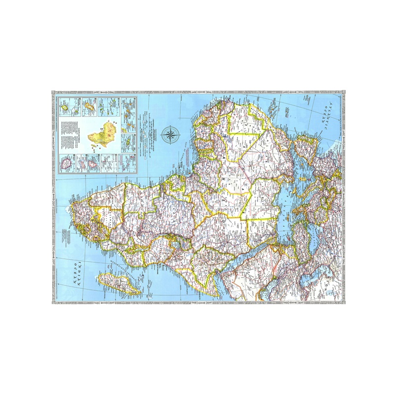 150x225cm Map Of The World Non-woven Vinyl Spray Painting African HD Map In 1990 Edition For Living Room Office Wall Decoration