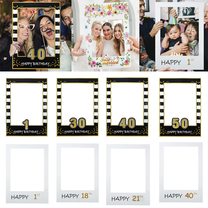 1/18/21/<font><b>30</b></font>/<font><b>40</b></font>/50/60th Wedding Birthday <font><b>Photo</b></font> Prop Paper Photobooth <font><b>Frame</b></font> For Baby First Birthday Party Adult Anniversary Decor image