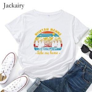 Jackairy 100% Cotton T-shirt Women Casual Plus Size T Shirt Summer Letter Print Casual Short Sleeve Graphic Tee Harajuku Tops
