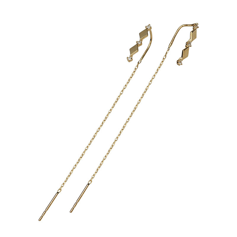 925 Sterling Silver 14k Gold Plating Inlaid Crystal French Diamond Tassel Ear Line Women Retro Classic Party Jewelry Accessories