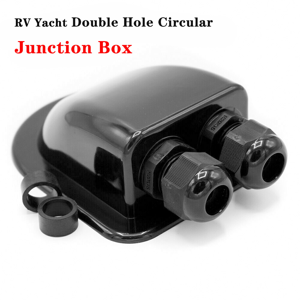 RV Yacht Camper Double Hole Circular Junction Box Motorhome Roof Duct Solar Cable Duct Solar Module Fastening