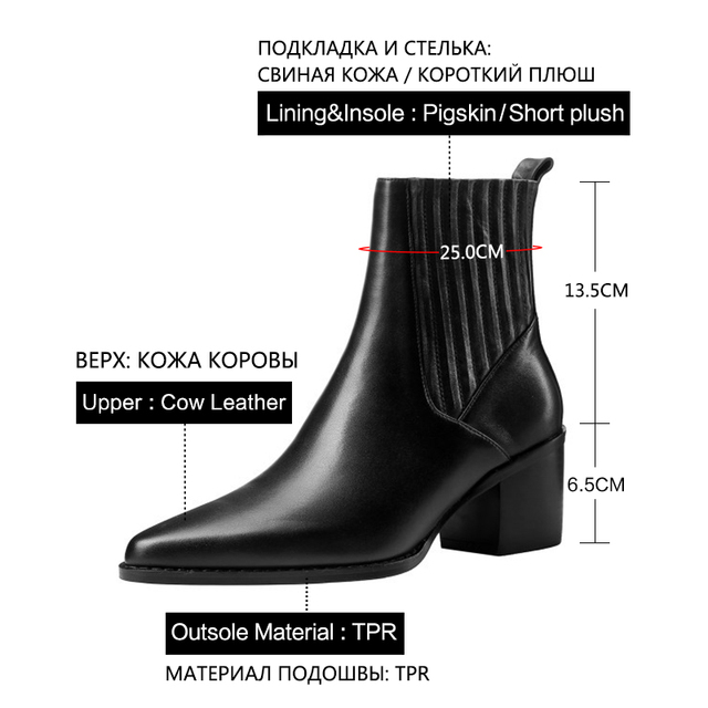 Donna in Genuine Leather High Heels Boots For Women Sexy Pointed Toe Black Autumn Winter Shoes