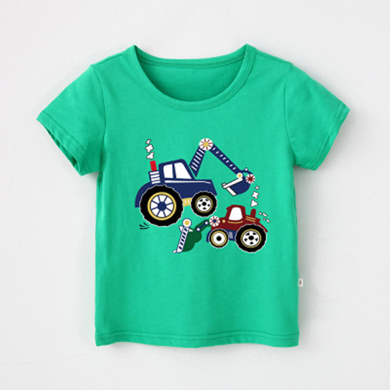 Baby Kids Boys Children Boys T-shirts Cotton Cars Trucks Tops Tees Summer Cute Baby Clothing Kids Tees Tops Tees Clothes 4018