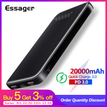Essager 20000mAh Power Bank Quick Charge 3.0 USB C PD Fast Mini 20000 mAh Powerbank For Xiaomi Portable Charger External Battery