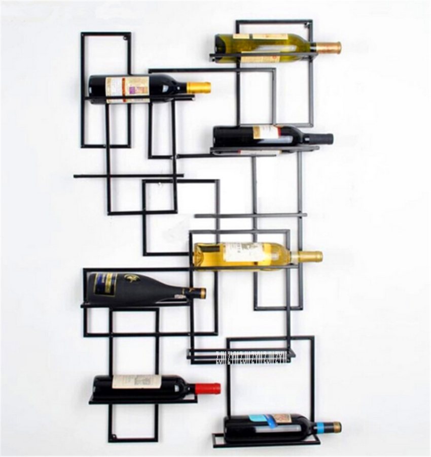 995775 Bar Modern Simple Wall Hanging Red Wine Rack Shelf Wine Display Stand Iron Wall Mounted Wine Holder Support Cabinet|  -
