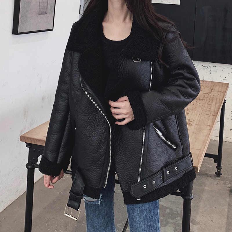 LY Varey LIN ใหม่ผู้หญิง Lamb FUR Faux หนังแจ็คเก็ตเสื้อเปิดลงปกฤดูหนาวหนาอุ่นขนาดใหญ่ซิปเข็มขัด Outerwear