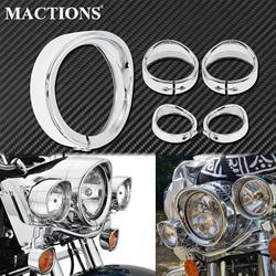 Motorcycle 7''Headlight Trim Ring+4.5'' Fog Light Cover +Visor Style Turn Signal Trim Ring Chrome For Harley Softail FLH Touring