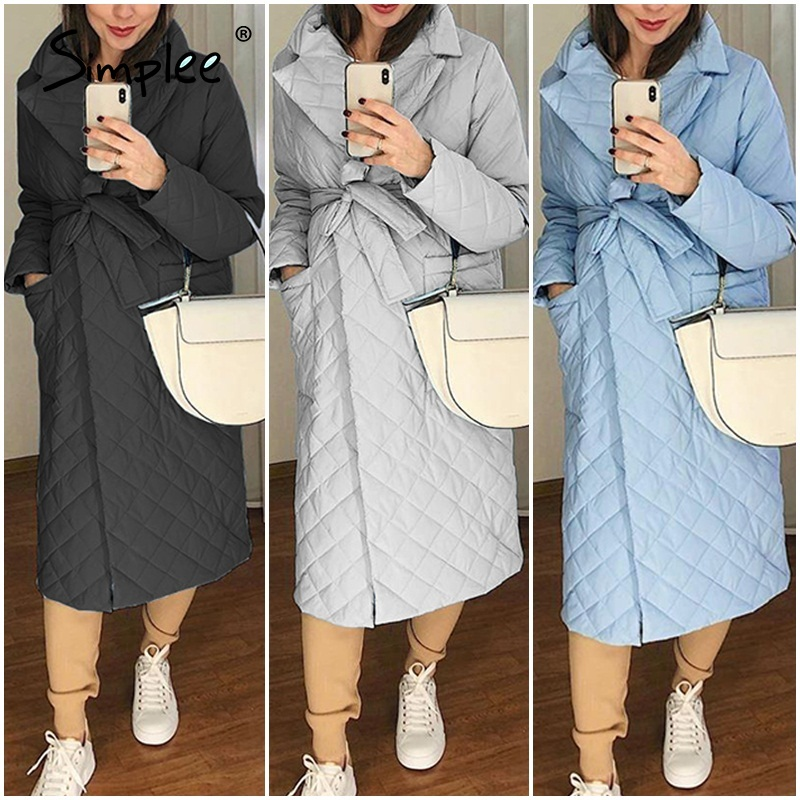 Simplee winter coat, long and straight with diamond pattern Casual belts for women  4