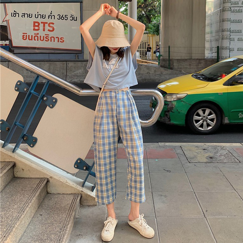 HOUZHOU Summer Checkered Pants Women 2020 Plaid Pants Korean Style Wide Leg Pants Casual Loose High Waist Straight Trousers