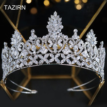 Headpieces Tiaras Hair-Jewelry-Accessories Zircon Bridal-Tall Wedding-Queen Pageant Crown