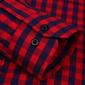 Image 3 - Vacances chemise à carreaux pour jeunes hommes, en coton, à carreaux, à poches simples à Patch, à manches longues, à ajustement Standard, décontracté
