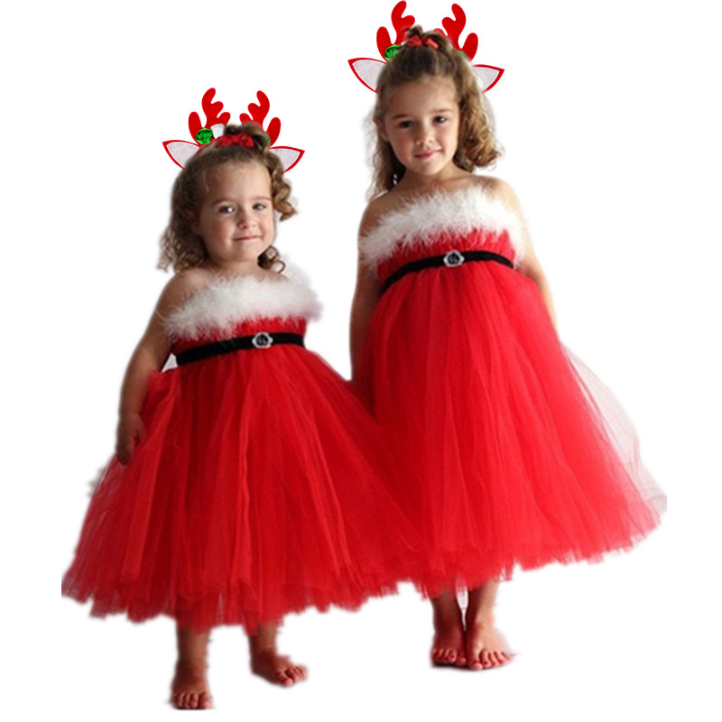 New Year Kids Girl Party Dresses Girl Princess Red Christmas Party Prom Dress Baby Wear Dress Children's Girl Santa Clus Costume