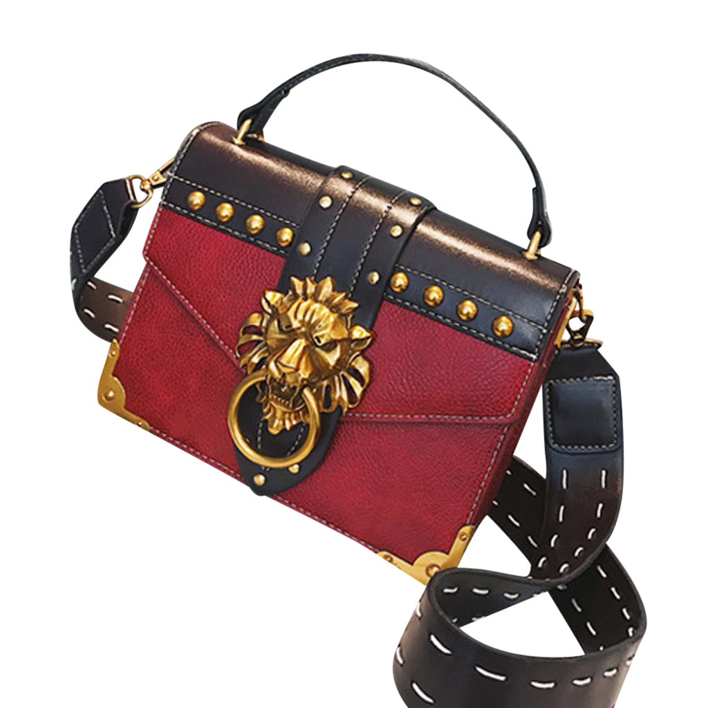 Hca8b124b135e406fb4aa879368b19b8aF - Handbags Women Bags  Golden Lion Tote Bag With Zipper Fashion Metal Head Shoulder Bag Mini Square Crossbody Bag G3