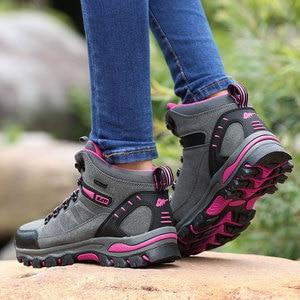 Image 2 - Phụ Nữ Núi Giày Chống Nước Thể Thao Ngoài Trời Giày Leo Núi Nam Đi Đào Tạo Giày Bọc Chống Trượt Mặc Săn Bắn Giày
