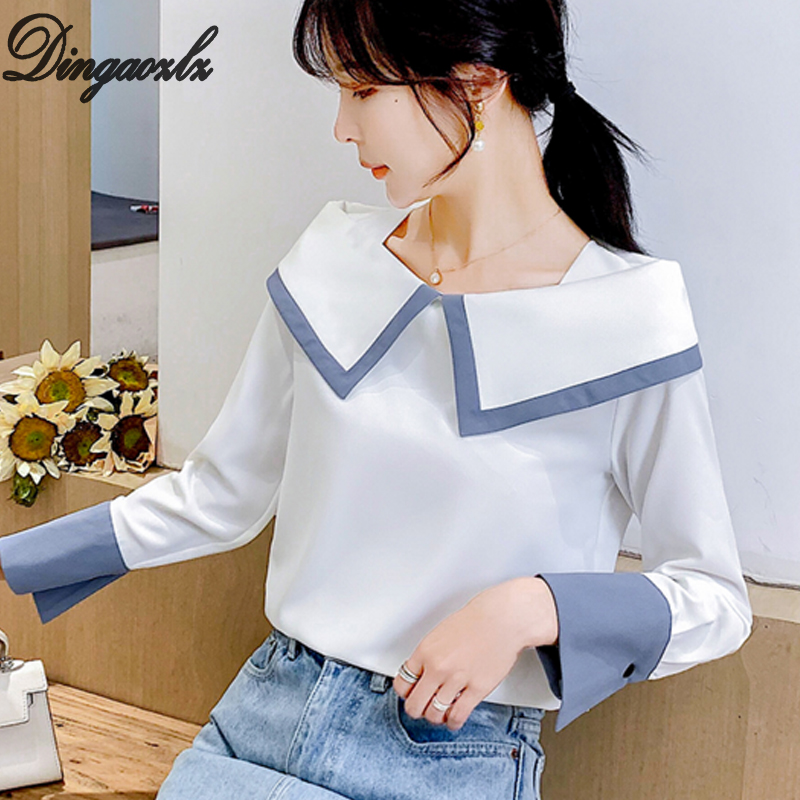 Dingaozlz 2019 New Lady Chiffon Shirt Elegant Female Stitching Chiffon Blouse Women Tops Casual Clothing