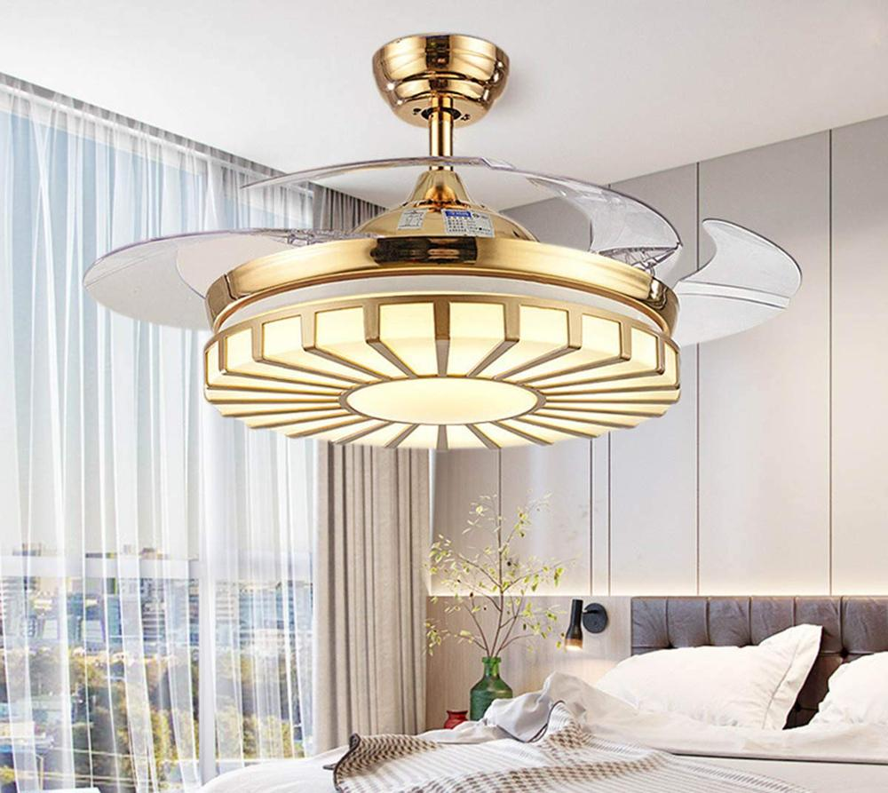 Modern 42-inch Ceiling Fan Light With Remote-Controlled Retractable Fan-Leaf Fan Chandelier For Bedroom Kitchen Living Room