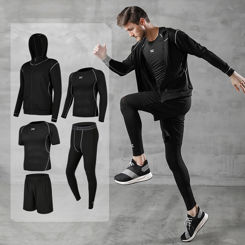 running - Running sets men's gym sportswear suit fitness t-shirt shorts sports training clothes breathable jogging pants men sweatpants