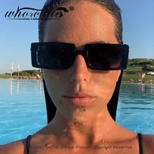 WHO CUTIE Trendy Black Sunglasses Female 2020 Brand Design Rectangle Thick Frame
