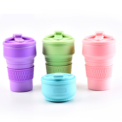 350ML Silicone Folding Coffee Cups Portable Outdoors Travel Drinking Mug Collapsible Water Tea Cup