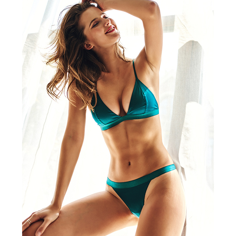 New Summer Sexy Ultra-thin   Bra     Set   French Silk Bralette Unlined 3/4 Cup Women Underwear Simple Comfortable Push Up Brassiere