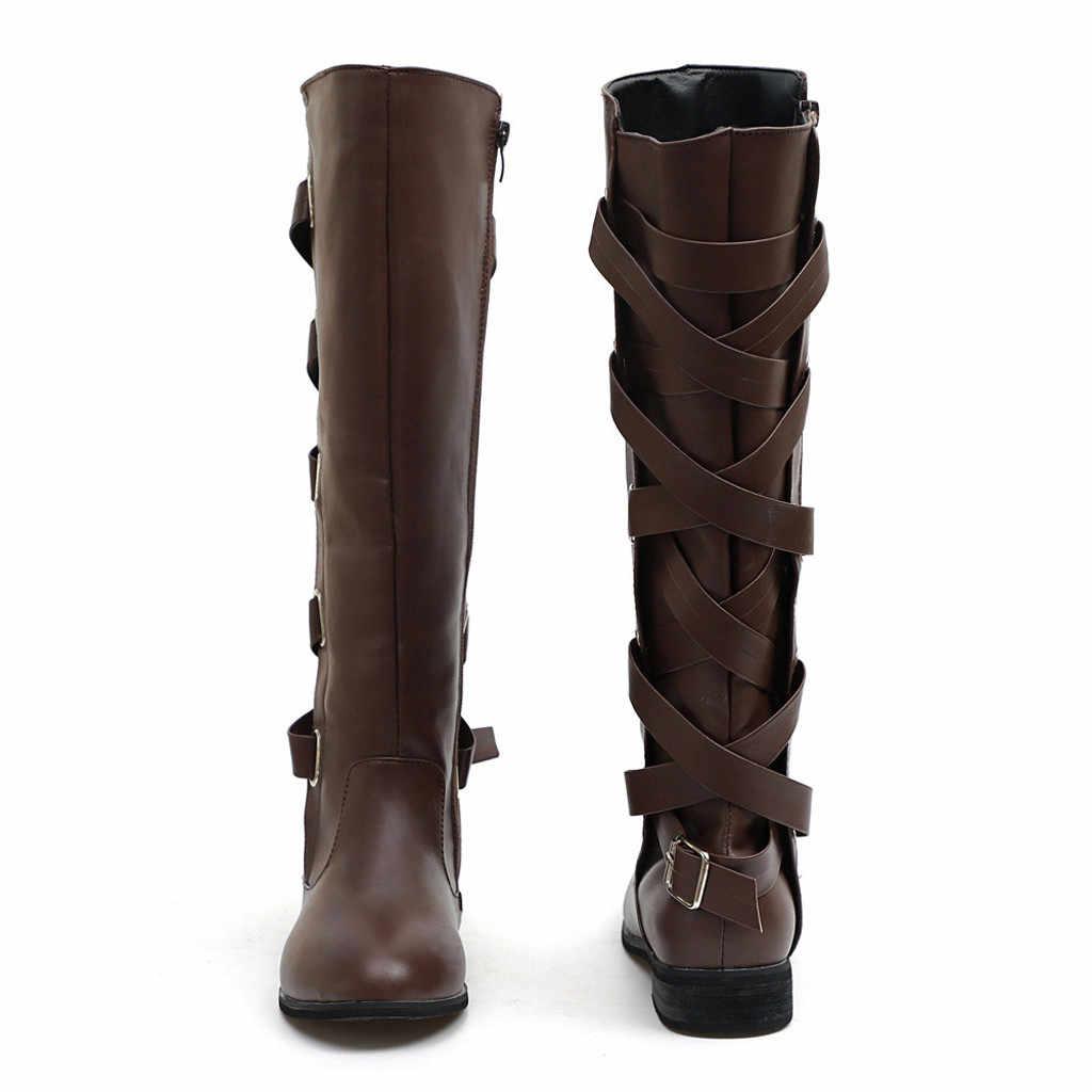 Wiązane na krzyż buty damskie moda zimowa buty do kolan długie śnieg kolana wysokie buty kowbojskie ciepłe buty Botas Mujer Invierno