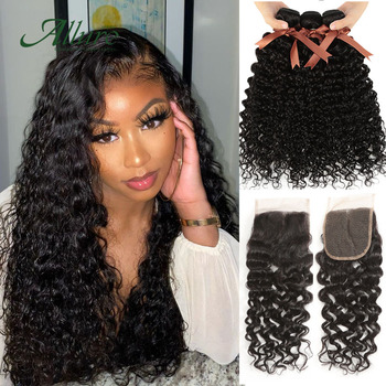 Water Wave 3 Bundles With Closure 4x4 Human Non Remy Brazilian Hair Weave Bundles With Black  Lace Closure Free Shipping Allure
