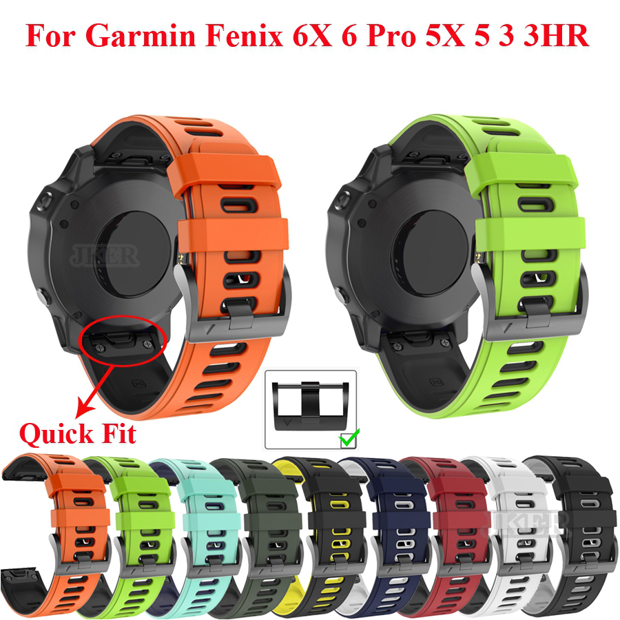 26 22mm Silicone Watchband For Garmin Fenix 6X 6 Pro Watch Quick Release Easy Fit Wrist Band Strap For Fenix 5X 5 Plus 3 3HR