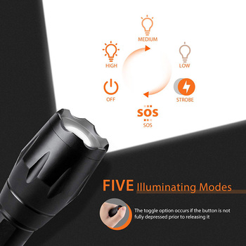 T20 Q250 Led Flashlight Ultra Bright T6/L2/V6 Torch Zoomable 5 Modes TL360 Waterproof Resistant Handheld Light Bicycle Light 3