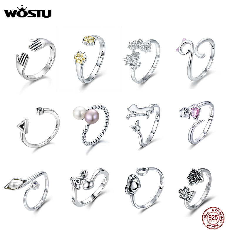 WOSTU Real 925 Sterling Silver 20 Style Women Ring Finger Adjustable Size Wedding Engagement Open Rings Fashion Silver Jewelry
