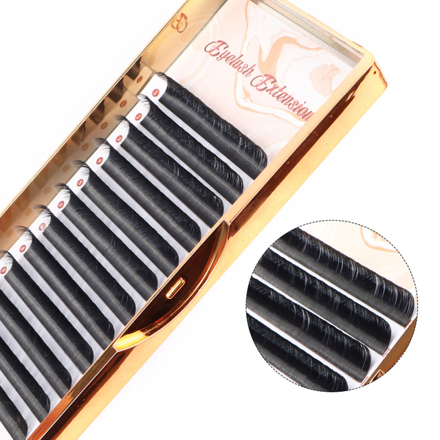 100% Handmade Russian Volume Eyelashes Extensions Beauty Natural Korea Silk Mink Individual Eye Lahe Soft  Eyelash 12Lines /Tray 1