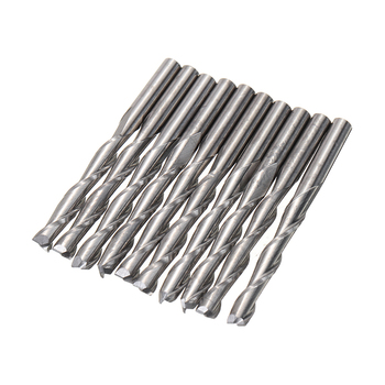 цена на 10pcs Two Flute Carbide End Mill Dia 3.175mm Solid Spiral Woodwork CNC Router Bits For Milling Cutter