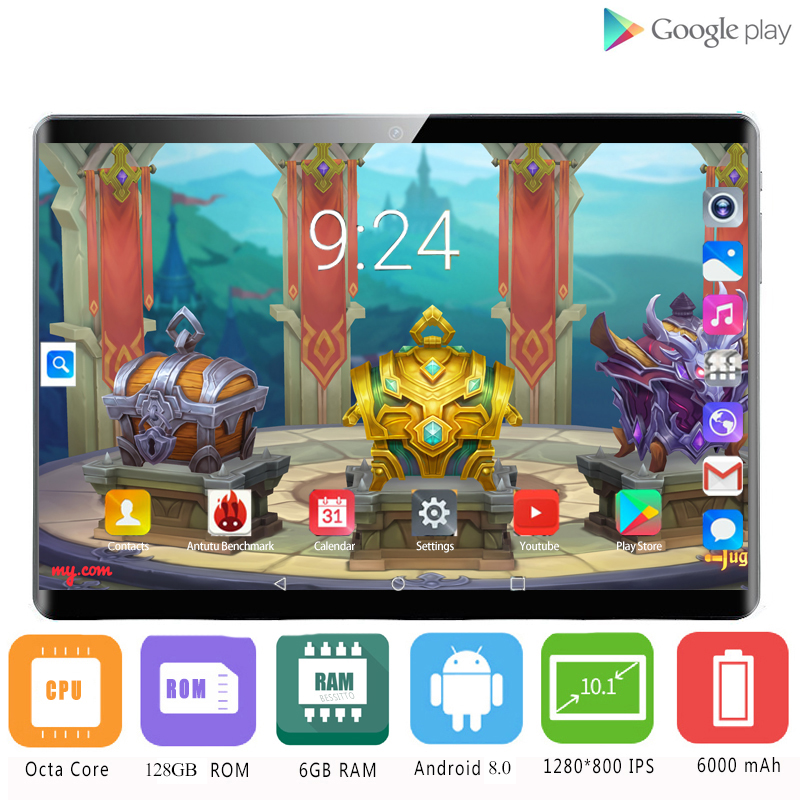 2020 Newest Global Version 2.5D Glass Screen Octa Core 4G LTE 10.1 Inch Android 8.1 OS 10 Cores 6GB RAM 128GB ROM IPS Wifi GPS