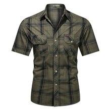 Camicia a quadri uomo Regular Fit cotone 2021 camicie Casual manica corta da uomo moda marchio di abbigliamento S-5XL nuova camicia a quadri estiva da uomo