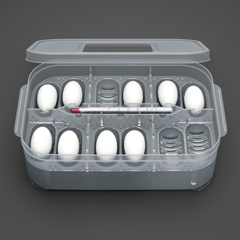 Plastic 12 Holes Reptile Egg Incubation Tray With Thermometer Incubating Snake Eggs Incubation Tool Terrariums