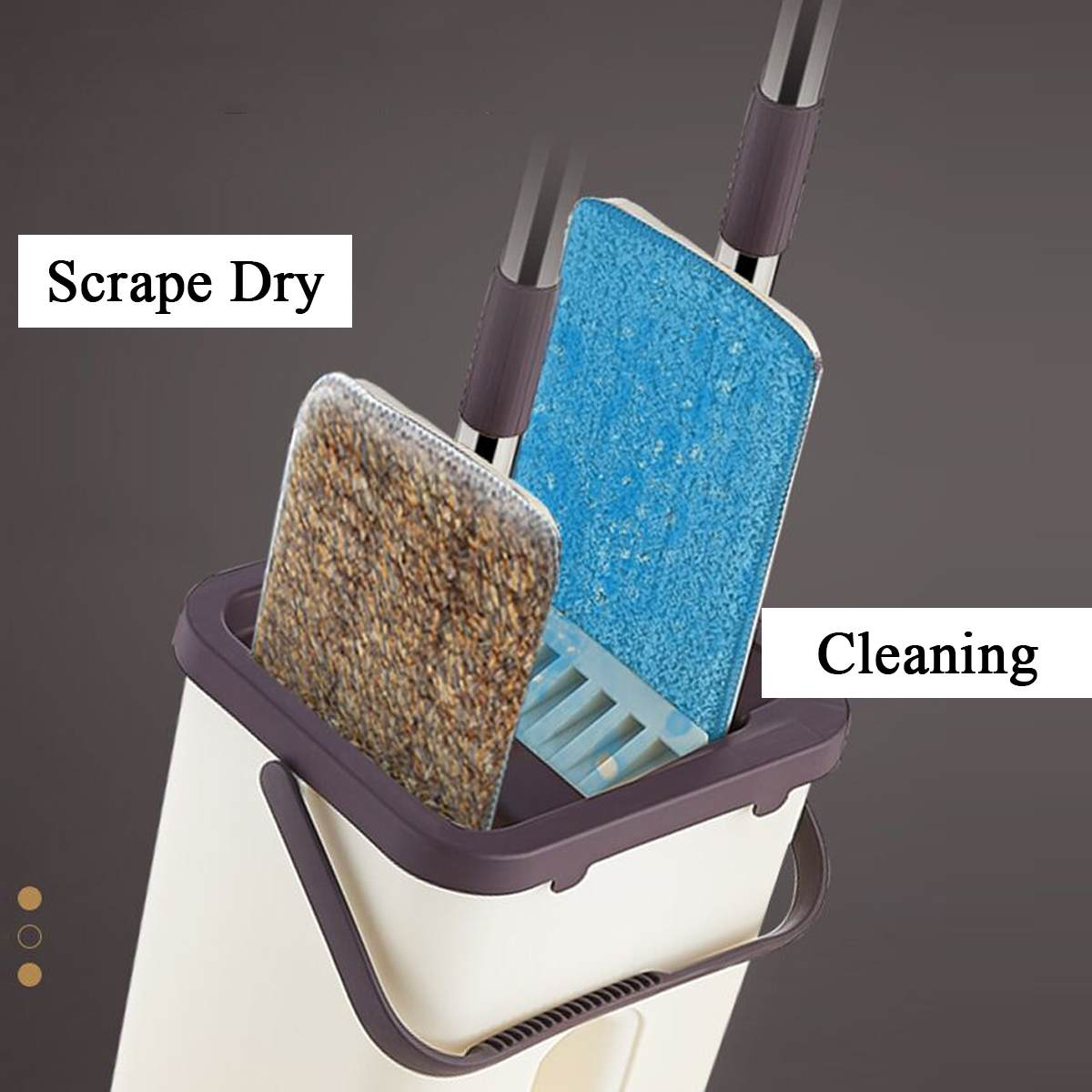 Hand-Free Spin Mop for Automatic Wet or Dry Mopping in 360-Degree Rotation Structure Design 1