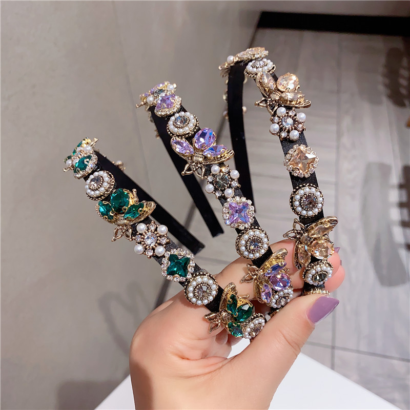 Elegant shiny crystal baroque hair band for women Fashion Hair accessories pearls rhinestone Headwear crown flower Bee headband