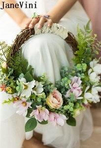 Image 3 - JaneVini ラウンドウェディング花輪ブライダルブーケピンク造花バスケット花嫁のブーケ花嫁介添シルクフラワーブーケノッカー