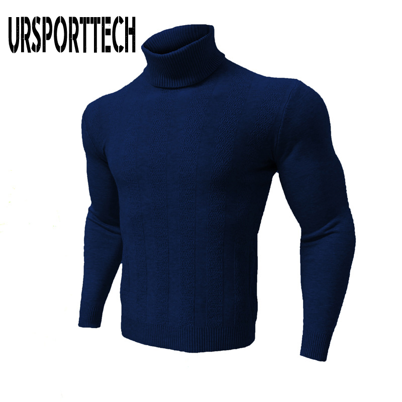 Winter High Neck Warm Sweater Men Turtleneck Brand Mens Sweaters For 2019 Slim Fit Pullover Men Knitwear Male Double Collar
