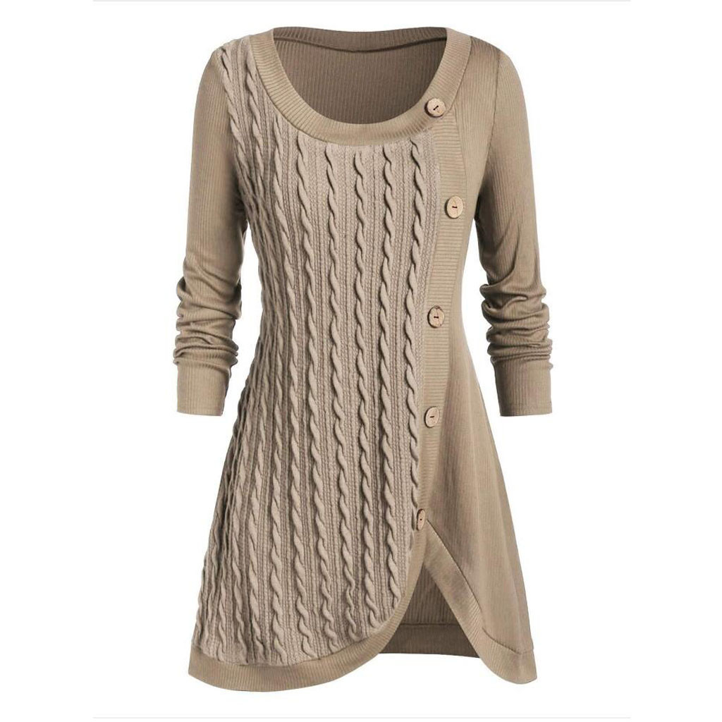 Plus Size 5XL Winter Solid Buttons Tunic Sweater Women Warm Long Sleeve Knitted Pullover Sweater Female Jumper Women Ladies Tops