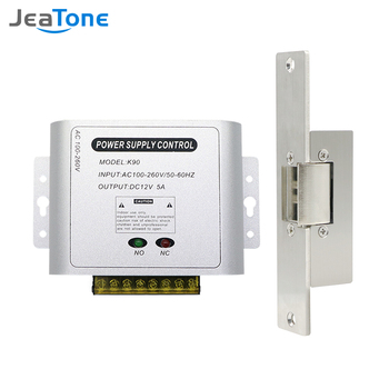 Jeatone Electric Lock for Gate Home Intercom Video Door Phone Door Access Control System Kit with 12Power Supply Control homsecur waterproof touch keypad ic access control system electric lock with keys