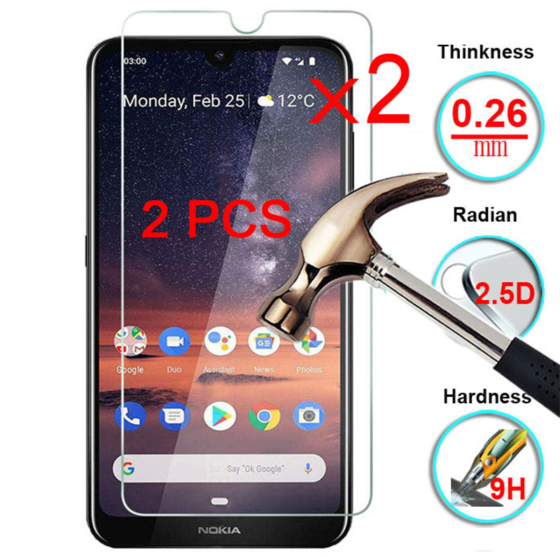 2 Pieces 9H Hard Glass Protective Glass Screen Protector Film For Nokia 7.2 6.2 7 6 5 Tempered Glass For Nokia 5.1 Plus 6.1 7.1