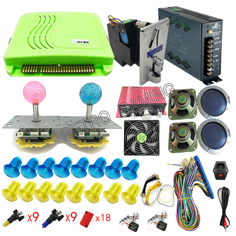 LED joystick power supply coin acceptor Amplifier Buttons parts kit for DIY Pandora 815 in 1 / 999 in 1 Arcad Game Machinese