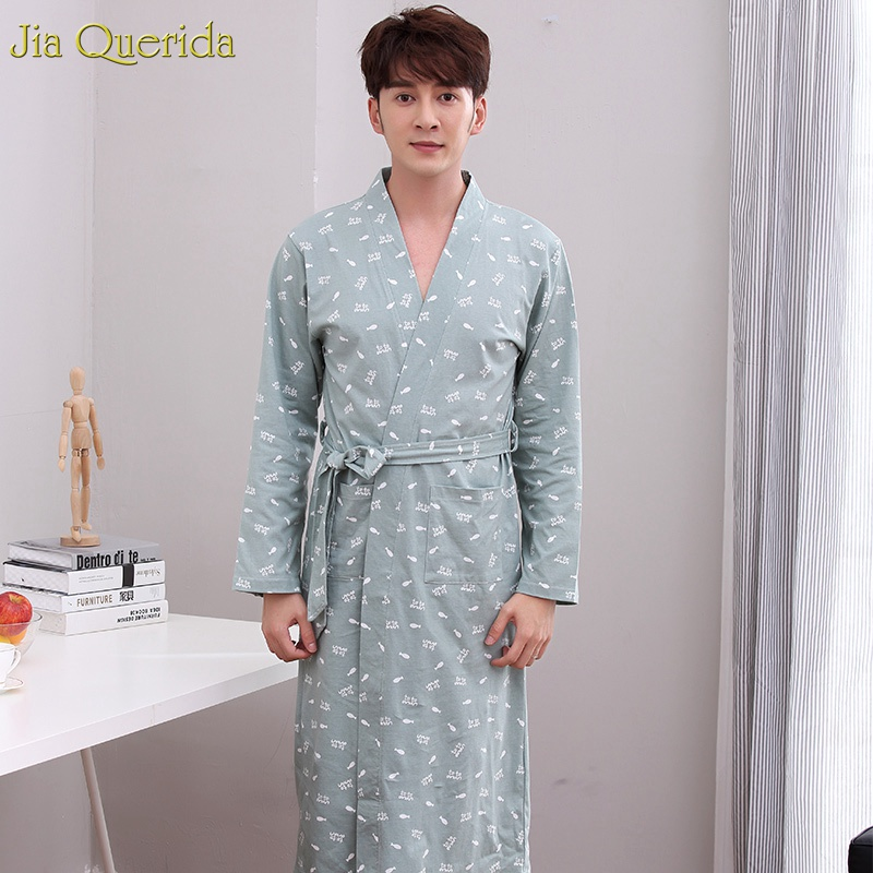 Men Kimono Robe Bathrobe Gray Sleepwear 100% Cotton Knitted V-neck Fish Print Cardigan Autumn Spring Long Sleeves Nightwear