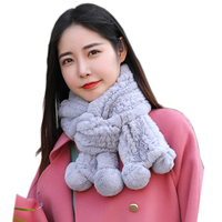2020 New Long Style Luxury Rex Rabbit Fur Ring Scarves Women Knitted 100% Natural Real Fur Mufflers Lady Winter Warm Fur Scarf
