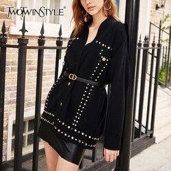 TWOTWINSTYLE Casual Patchwork Pailletten Stricken Pullover Weibliche V-ausschnitt Langarm Strickjacken Pullover Frauen 2020 Mode Kleidung