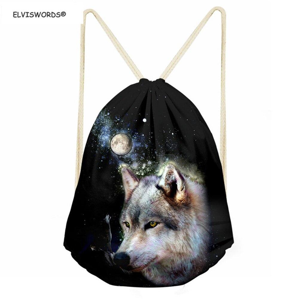 ELVISWORDS Animals Design Softback Wolf Pattern School Drawstring Shoes Bag Gym Sack Pocket Sack 3D Printing Travel Backpacks
