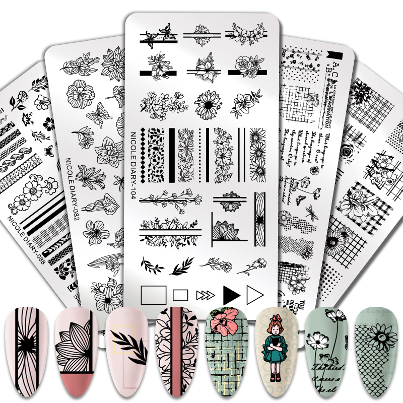 NICOLE DIARY Nail Art Stamping Plates Flower Festival Geometric Print Image Nail Designs Stainless Steel Stamp Nail Plate Templa
